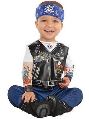 Born To Be Wild Baby Biker Punk Rocker Gang Costume Infant Toddler 0-24 Months - Toddler Rocker Costume