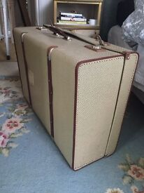 VINTAGE large suitcase Motor 1940s or 50s Dogtooth £40