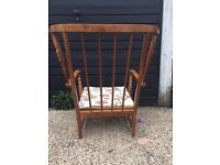 Vintage Ercol stick back chair complete with cushion