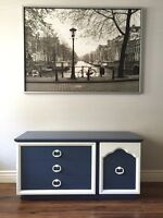 Refinished navy and white cedar chest