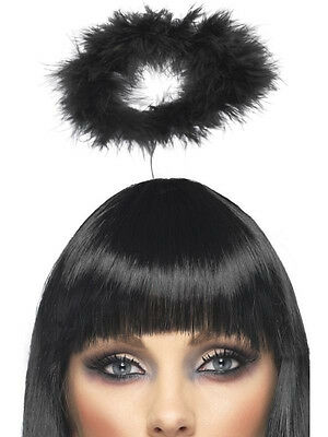 BLACK FEATHER HALO DARK FALLEN ANGEL FAIRY GOTH MARABOU COSTUME HEADBAND HALO (Fallen Fairy Costume)