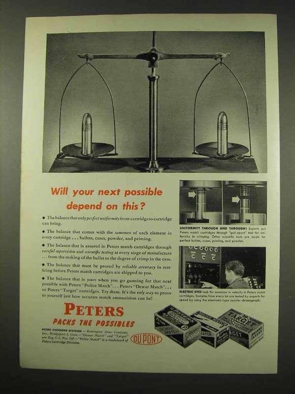 1949 Du Pont Peters Ammunition Ad - Dewar Match