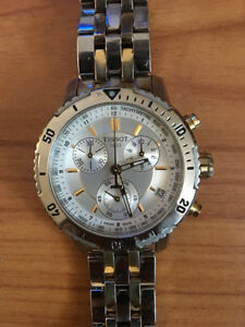 Silver-Faced Round Tissot Chronograph Watch With Silver Link