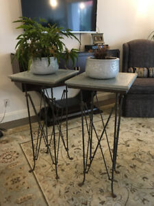 2 Plant Stands with Matching Pots