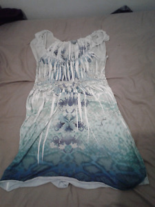 Comfy sleeveless blue knee length nightgown