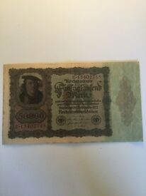 1922 German Banknote 50000 Marks. Coins, Banknotes, stamp collection