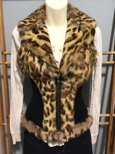 GUESS Leopard Genuine Real RABBIT FUR VEST w/ Leather, Size S London Ontario image 4