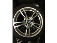 """BMW f30 3 series 18"""" m sport alloy wheels and tyres - genuine"""