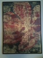 Gorgeous framed art. Red with yellow/gold