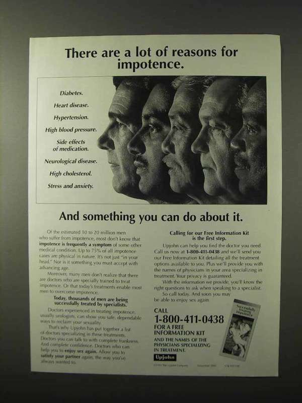 1995 Upjohn Pharmaceuticals Ad - Reasons for Impotence
