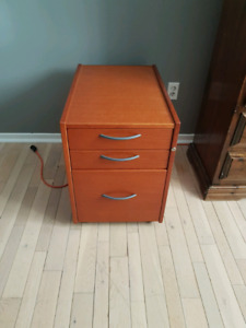 Real wood, mobile, legal size filing cabinet