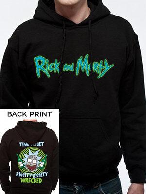 rick und morty unisex riggity riggity kaputt schwarz hoodie sweatshirt offizier
