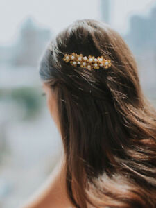 Wedding Hairpiece: Davie & Chiyo gold with pearls