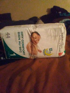 44 size one diapers 2 packs.