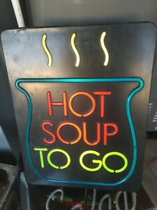 Neon Sign Hot Soup To Go