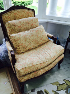 French country vintage style chair and ottoman