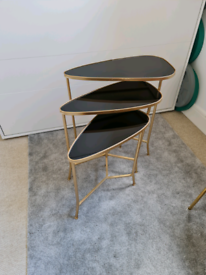 Designer Black and Gold nest of tables teardrop - Brand New