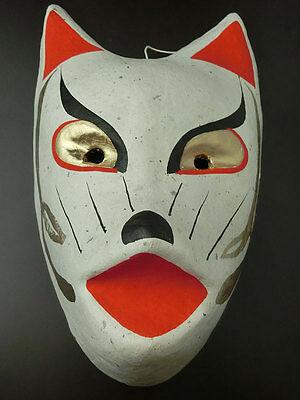 Japanese traditional fox mask  ( Fukushima kitsune )  made from washi
