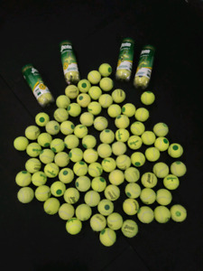 Green dot tennis balls - used