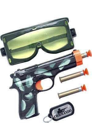 MILITARY SET FANCY DRESS FAKE GUN BULLETS GOGGLES + DOG TAG FUN PLAY COSTUME - Kostüm Military Gun Set