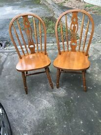 Dining Chairs X 2 Wooden with spindle back