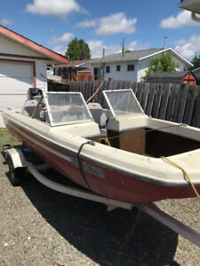 14 ft Tri hull I erglass boat and trailer