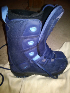 Snowboarding boots and helmet