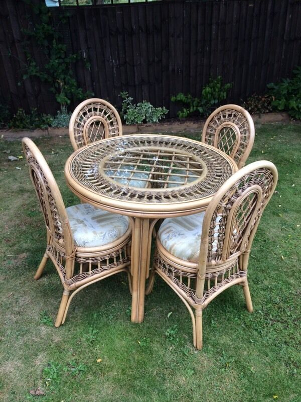 Cane table and chairsin Hatfield Peverel, EssexGumtree - Cane table and four chairs by Kathy cane. In excellent condition. Comfortable padded seat cushions which can be removed for cleaning. Please text or email with any questions £75