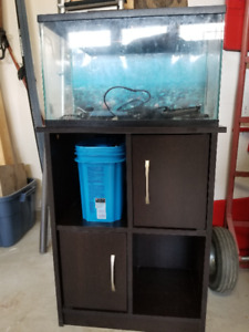 FISH TANK with cabinet, filter, backdrop, fish food etc