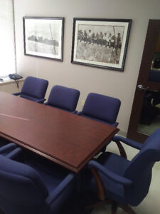 Executive Board Table and 8 high back chairs