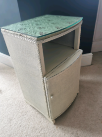 Vintage Lloyd Loom Bedside Cabinet with Glass Top