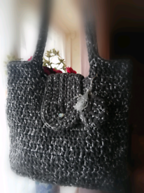 Black and silver handmade crocheted bag