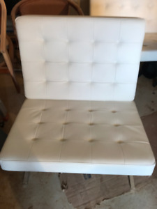 White Leather Barcelona Chairs Mid-century modern $155.00 each