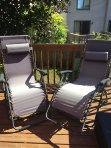 2 Foldable Reclining Lounger Chairs- Grey