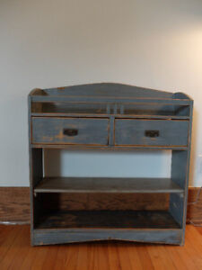 VINTAGE Wooden Farm SHELVING UNIT with DRAWERS