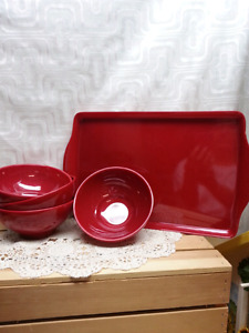 Red serving dishes