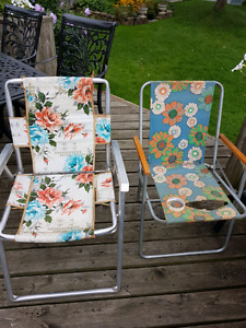 Two mid-century modern lawn chairs