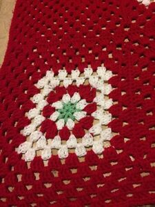 Crochet afghan Christmas red white green squares poinsettia  London Ontario image 4