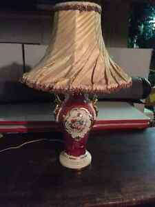 Vintage Antique Porcelain Lamp Twisted Fabric Shade