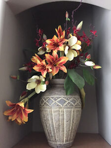 Vase (griege in colour) with flowers included