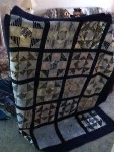 homemade navy blue quilt