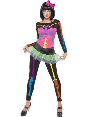 Skelett Kostüm Damen Neon Nights 80er 90er Halloween