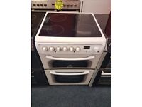 HOTPOINT 60CM CEROMIC TOP ELECTRIC COOKER IN WHITE. H