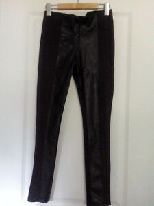 Zara W&B collection, black leather front panel trousers