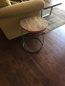 Solid wood and artisan metal framed side tables
