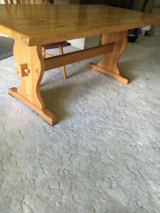 Solid Pine dining or kitchen table and chairs