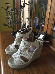 Lace wedge sandals,