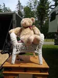 RALPH LAUREN TEDDY BEAR IN A GENUINE WICKER CHAIR