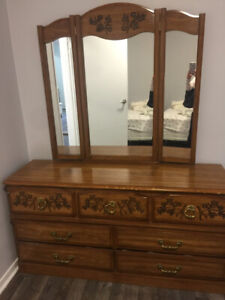 Solid Wood Dresser with Mirror and Night Table