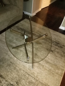 glass coffee table,  white electric fire place, Brown  leather f